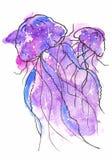 иллюстрация эскиза акварели, стиль татуировки: контур 2 медуз окруженных пузырями на предпосылке пинка и mauve иллюстрация штока