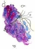 иллюстрация эскиза акварели, стиль татуировки: контур медуз окруженных пузырями на предпосылке пинка и mauve космоса иллюстрация штока
