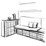 Иллюстрация эскиза живущей комнаты графическая черная белая внутренняя мебель Софа и таблица Стоковая Фотография RF