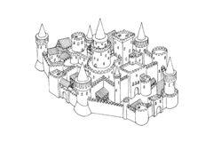 Иллюстрация эскиза старого города изолированная на белизне Искусство вектора нарисованное рукой стоковые фотографии rf