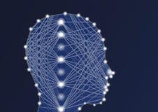Иллюстрация AI искусственного интеллекта с глубокими нервной системой и силуэтом персоны Стоковые Фотографии RF