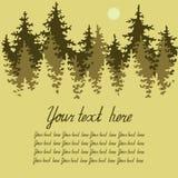 Иллюстрация coniferous пущи с местом для Стоковая Фотография RF