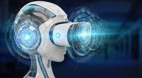 Иллюстрация 3D виртуальной реальности и искусственного интеллекта разрывает