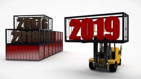 Иллюстрация 3D грузоподъемника который держит дату 2019 и грузовые контейнеры в которой прошлые леты хранятся Transportati иллюстрация вектора