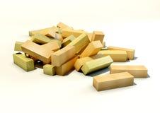 иллюстрация 3d деревянной рушась башни Иллюстрация штока