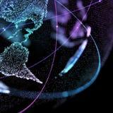 иллюстрация 3d детальной виртуальной земли планеты Технологический цифровой мир глобуса Стоковое Фото