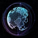 иллюстрация 3d детальной виртуальной земли планеты Технологический цифровой мир глобуса Стоковые Фотографии RF