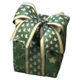 иллюстрация 3D зеленой подарочной коробки со смычком ленты на белой предпосылке стоковое фото