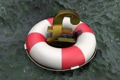 иллюстрация 3d: Золотой символ фунта стерлингов на Lifebuoy на предпосылке грязной воды Поддержка для экономики Великобритании f иллюстрация штока
