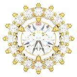 иллюстрация 3D изолировала венчик детали желтого золота кольца с di Стоковое фото RF