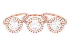 иллюстрация 3D изолировала розовый захват золота 3 wedding diam Стоковые Фотографии RF