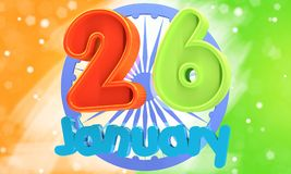 иллюстрация 3d Индийская концепция дня республики с текстом 26-ое января Стоковые Изображения