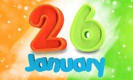 иллюстрация 3d Индийская концепция дня республики с текстом 26-ое января Стоковое Изображение