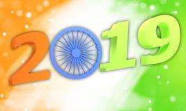 иллюстрация 3d Индийская концепция дня республики с текстом 2019 Стоковая Фотография