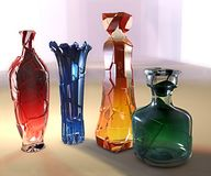 Иллюстрация 3d искусства творческая стекла crystall покрасила вазу Стоковое Изображение