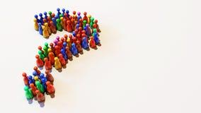 иллюстрация 3D красной, зеленый, голубой, желтый, красочно Pawns положение в форме вопросительный знак бесплатная иллюстрация