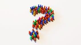 иллюстрация 3D красочно Pawns положение на белой предпосылке в форме вопросительный знак бесплатная иллюстрация