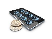 иллюстрация 3d минирования Ферма Bitcoin работая оборудование телефона Стоковое фото RF