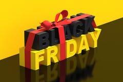 иллюстрация 3D на черная пятница с лентой бесплатная иллюстрация