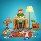 иллюстрация 3D отца и его младенца в живущей комнате Стоковое Фото