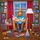 иллюстрация 3D отца и его сын читая книгу в кресле Стоковые Фото