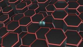 иллюстрация 3D предпосылки много черных шестиугольников и голубого шарика, сферы Идея дела, богатства и процветания, compl иллюстрация вектора