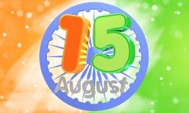 иллюстрация 3d представляет Лоснистый 3d текст 15-ое августа в индийском цвете флага для счастливого торжества Дня независимости Стоковая Фотография