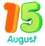 иллюстрация 3d представляет Лоснистый 3d текст 15-ое августа в индийском цвете флага для счастливого торжества Дня независимости Стоковые Изображения