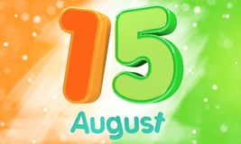 иллюстрация 3d представляет Лоснистый 3d текст 15-ое августа в индийском цвете флага для счастливого торжества Дня независимости Стоковые Фото
