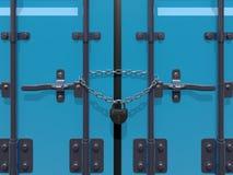 иллюстрация 3D представляет padlock и цепи груза на contai двери Стоковая Фотография RF