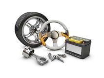 иллюстрация 3d рулевого колеса автомобиля, поршеня, батареи и колеса, изолировала белизну Стоковая Фотография RF
