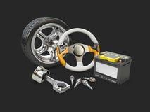 иллюстрация 3d рулевого колеса автомобиля, поршеня, батареи и колеса, изолировала черноту Стоковое Изображение RF