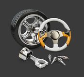 иллюстрация 3d рулевого колеса автомобиля, поршеня и колеса, изолировала черноту Стоковая Фотография