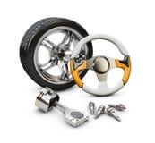 иллюстрация 3d рулевого колеса автомобиля, поршеня и колеса, изолировала белизну Стоковая Фотография RF
