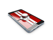 иллюстрация 3d современного smartphone с padlock замка комбинации концепция безопасности мобильного телефона Стоковое Изображение