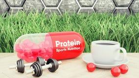 иллюстрация 3d таблетки протеина с зернами над белой предпосылкой Спорт дополняет концепцию стоковая фотография rf
