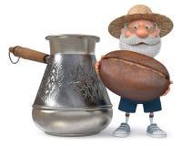 иллюстрация 3D фермера с большим зерном кофе Стоковая Фотография