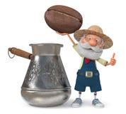 иллюстрация 3D фермера с большим зерном кофе Стоковые Фотографии RF