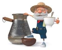 иллюстрация 3D фермера с большим зерном кофе Стоковое Изображение RF