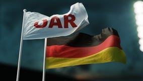 иллюстрация 3d 2 флага развевая на ветре Международная концепция отношений ВЕСЛО России Германии иллюстрация вектора