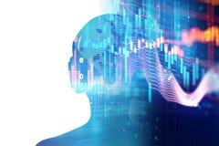 иллюстрация 3d человека с наушниками на тональнозвуковой форме волны Стоковое Изображение