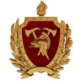 иллюстрация 3d Эмблема пожарных Шлем золота винтажный, оси, красный экран, факел, оливковые ветки иллюстрация штока
