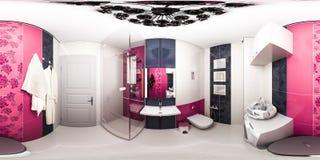 иллюстрация 3d яркой ванной комнаты в квартире стиля стиля Арт Деко Стоковое Изображение
