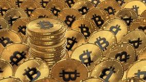 иллюстрация 3D bitcoins кладя на поверхность Стоковые Фотографии RF