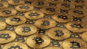 иллюстрация 3D bitcoins кладя на поверхность Стоковое Фото