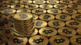 иллюстрация 3D bitcoins кладя на поверхность Стоковые Изображения RF