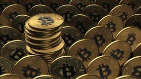 иллюстрация 3D bitcoins кладя на поверхность Стоковое Изображение