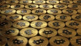 иллюстрация 3D bitcoins кладя на поверхность Стоковые Изображения
