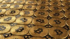 иллюстрация 3D bitcoins кладя на поверхность Стоковая Фотография RF
