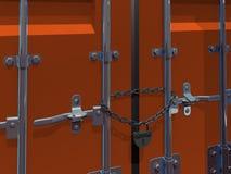 иллюстрация 3D padlock и цепи груза на контейнере двери Стоковые Фото